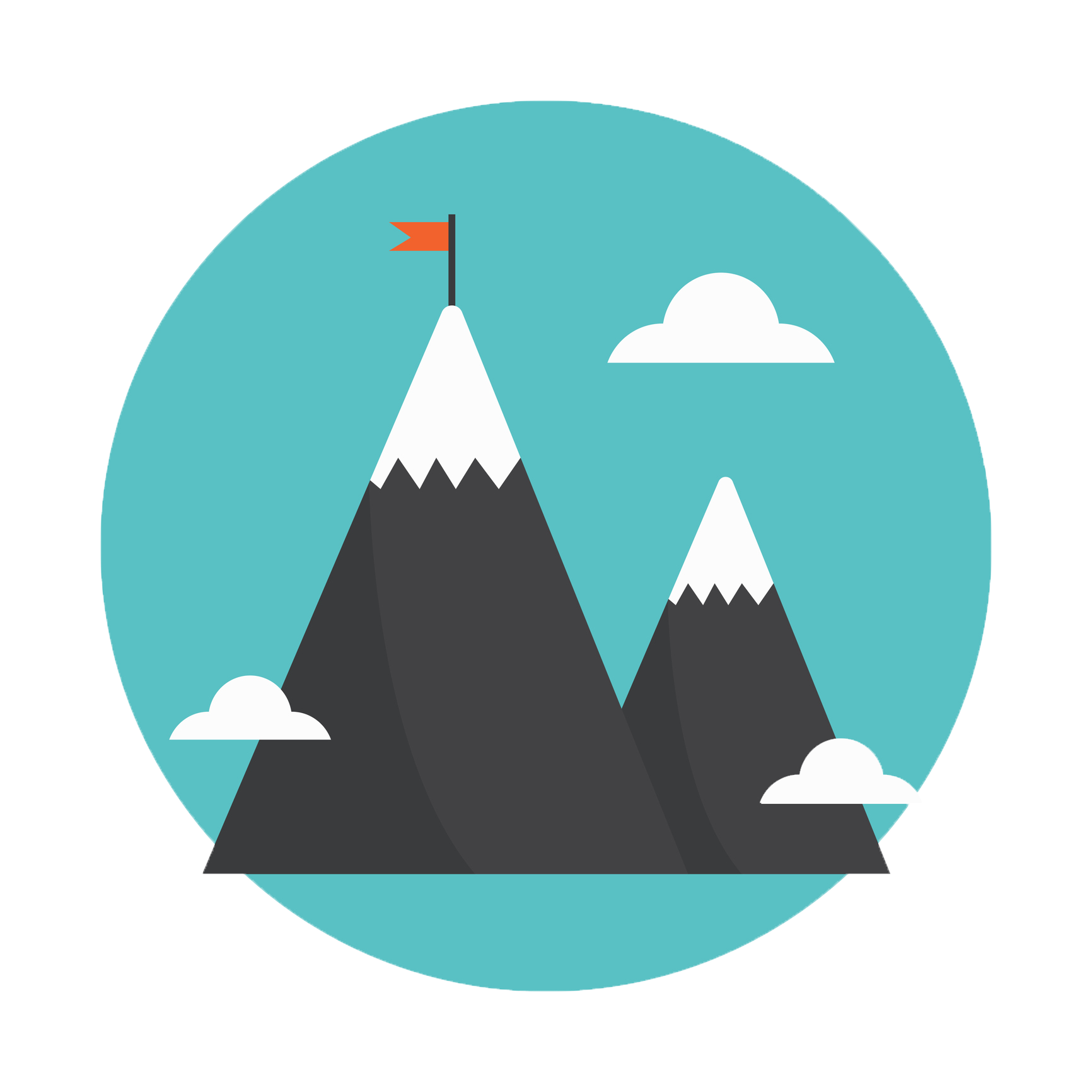 Mountain with ice caps and flag on top