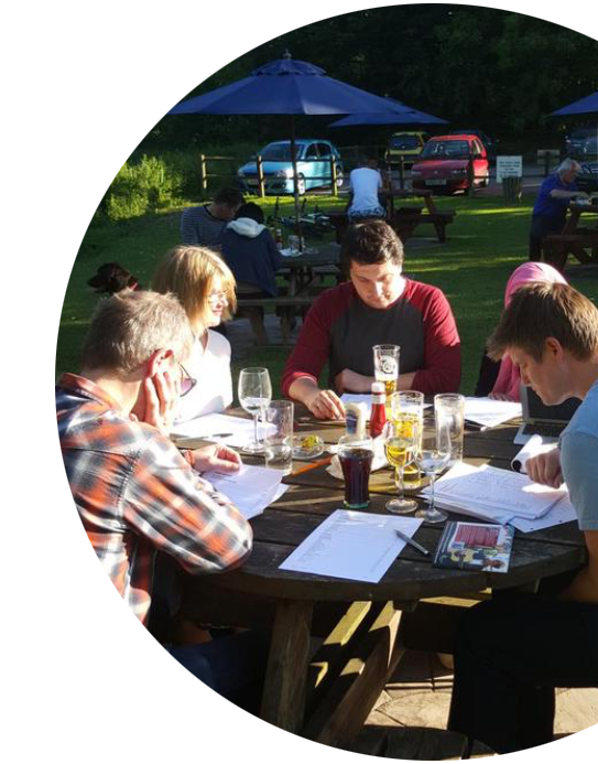 Xcite Team meetings in the pub garden